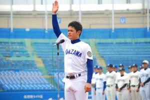 「日本一のリーグに!」と熱く宣誓する駒澤大学・巻木主将